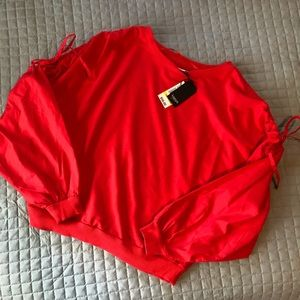 Cozy red crop sweatshirt